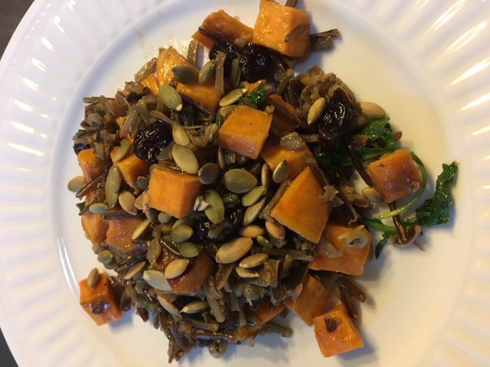 Wild Rice with Carmelized Sweet Potatoes and Kale